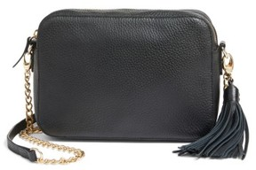 Nordstrom Ella Tassel Leather Crossbody Bag - Black