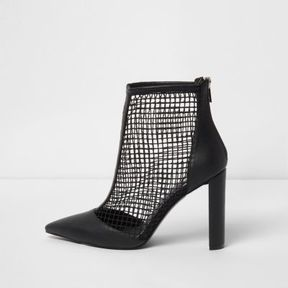 River Island Womens Black faux leather mesh heeled boots