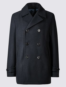 Marks and Spencer Wool Blend Double Breasted Peacoat