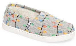 Toms Boy's Classic Glow In The Dark Christmas Lights Slip-On
