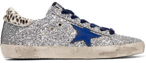 Golden Goose Deluxe Brand Super Star Glittered Leather And Calf Hair Sneakers - Silver
