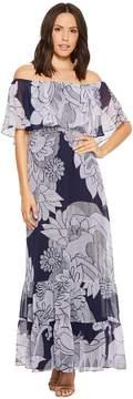 Donna Morgan Printed Off the Shoulder Maxi Dress Women's Dress