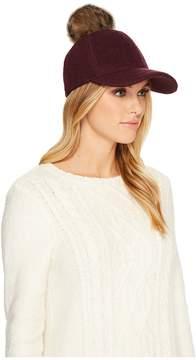 UGG Fabric Baseball Hat with Fur Pom Baseball Caps