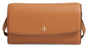 Women's Tory Burch Leather Wallet Crossbody Bag - Brown