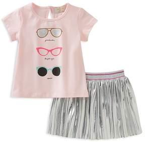 Kate Spade Girls' Sunglasses Tee & Pleated Metallic Skirt Set - Baby