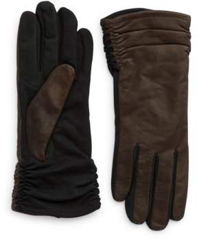 Lord & Taylor Ruched Leather Tech Touchscreen Gloves