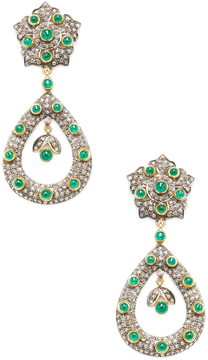 Artisan Women's 14K Yellow Gold, Silver, Emerald & 3.55 Total Ct. Diamond Open Marquis Earrings