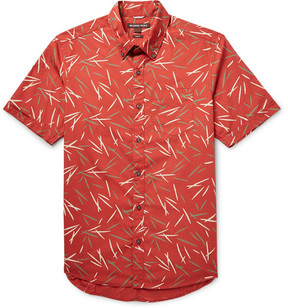 Michael Kors Slim-Fit Button-Down Collar Printed Cotton-Poplin Shirt