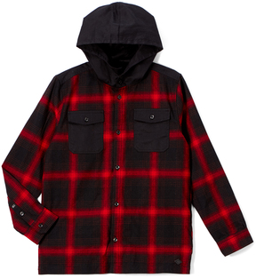 Buffalo David Bitton Cranberry & Black Plaid Shock Hooded Tee - Boys