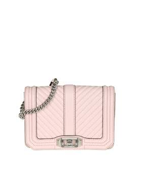 Rebecca Minkoff chevron Quilted Love Crossbody In Pink Leather - PEONY - STYLE