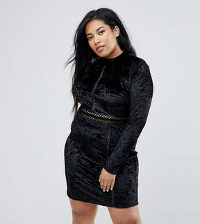 Club L Plus Velvet Cutout Mini Dress With Long Sleeves
