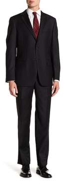 Hickey Freeman Classic Fit Black Two Button Notch Lapel Wool Suit