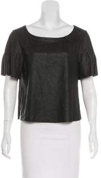 Drome Short Sleeve Leather Top