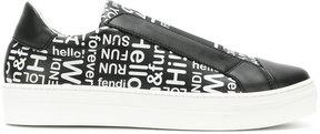 Fendi Kids lettering print slip-on sneakers