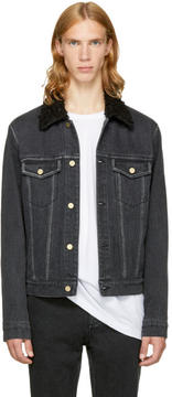 3.1 Phillip Lim Black Denim Sherpa Collar Jacket