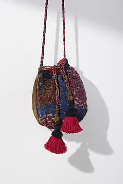 Anthropologie Floral Beaded Bucket Bag