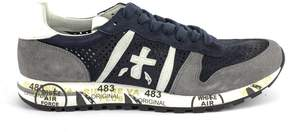 Premiata Eric Sneaker In Grey Suede Upper And Blue Nylon