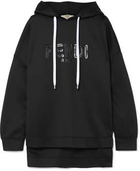 Fendi Roma Printed Neoprene Hooded Top - Black