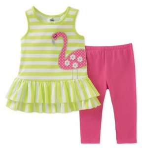 Kids Headquarters Baby Girl's Two-Piece Flamingo Tunic and Capri Pants Set