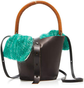 Muun Louise Leather Straw And Tweed Tote