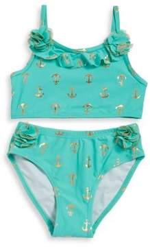 Flapdoodles Little Girl's Two-Piece Anchor-Print Bikini Set
