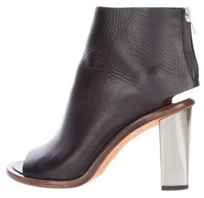 Celine Leather Peep-Toe Ankle Boots