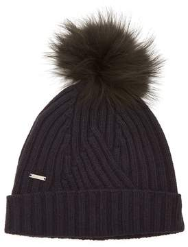 Woolrich Detachable fur-pompom ribbed-knit beanie hat