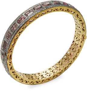 Artisan Women's Pink Tourmaline & Diamond Bangle