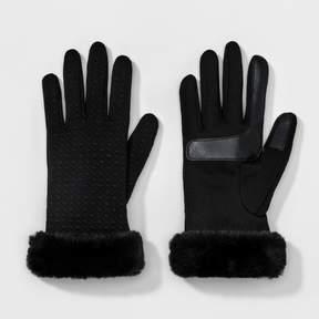 Isotoner Women's smarTouch® Faux Fur Cuff Glove - Black