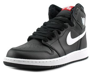 Jordan Air 1 Retro High Youth Round Toe Canvas Black Basketball Shoe.