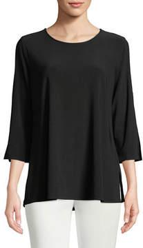 Caroline Rose 3/4-Sleeve Open-Shoulder Jersey Top
