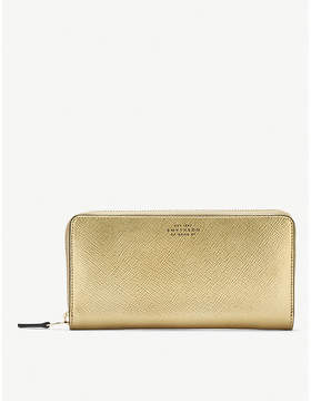 Smythson Panama large cross-grained leather continental wallet