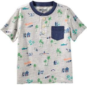 Osh Kosh Oshkosh Bgosh Toddler Boy Beach & Palm Tree Pocket Henley Top