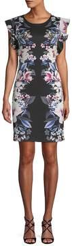 ABS by Allen Schwartz Women's Floral Flutter-Sleeve Dress