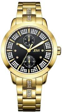 JBW Black Dial Gold-Plated Stainless Steel Diamond Ladies Watch