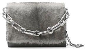 Michael Kors Yasmeen Small Mink Fur Chain Clutch - SLATE - STYLE