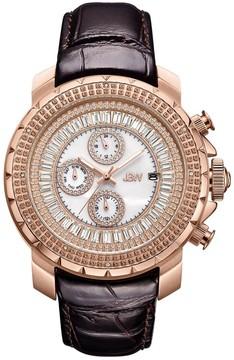JBW Titus Mother Of Pearl Dial Men's Dark Brown Leather Watch