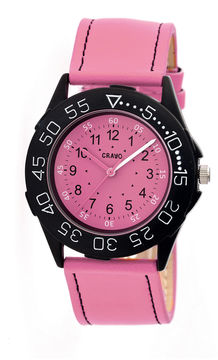 Crayo Womens Fun Pink Leather-Band Watch Cracr2508