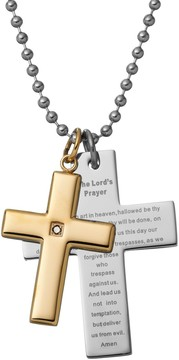 Black Diamond Kohl's Accent Two Tone Stainless Steel The Lord's Prayer Cross Pendant Necklace - Men