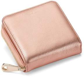 Aspinal of London Mini Continental Zipped Coin Purse In Rose Gold Metallic