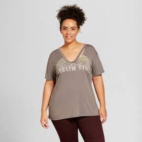 Fifth Sun Women's Plus Size Feelin' Fine Destructed Graphic T-Shirt Charcoal