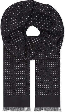 Eton Polka-dot wool-silk scarf