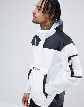 Columbia Challenger Packable Overhead Hooded Jacket Lightweight in White/Black