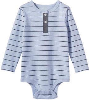 Joe Fresh Baby Boys' 2 Button Placket Bodysuit, Light Blue Mix (Size 3-6)