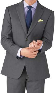 Charles Tyrwhitt Mid Grey Classic Fit Twill Business Suit Wool Jacket Size 42