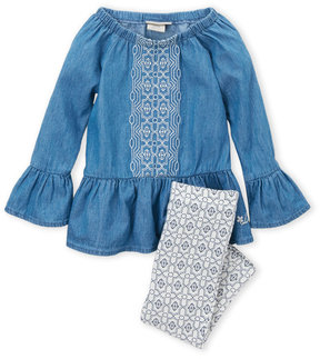 Lucky Brand Infant Girls) Two-Piece Embroidered Bell Sleeve Tunic & Leggings Set
