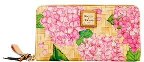 Dooney & Bourke Hydrangea Basketweave Large Zip Around Wristlet Wallet - PINK - STYLE