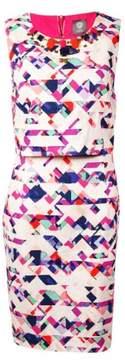 Vince Camuto Women's Embellished Geo-Print Popover Dress (12, Purple Multi)