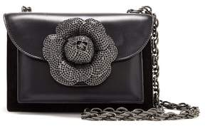 Oscar de la Renta Black Leather Pave Tro Bag