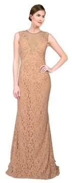 Alberto Makali Embellished Lace Ilusion V-neck Gown.